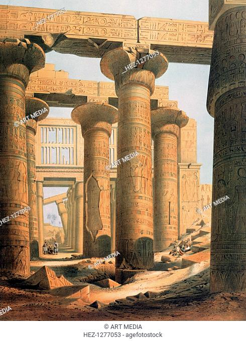 'Hall at Karnak', Egypt, 19th century. Carved and decorated pillars in the Great Hypostyle Hall at the temple of Amun-Re at Karnak (Thebes)
