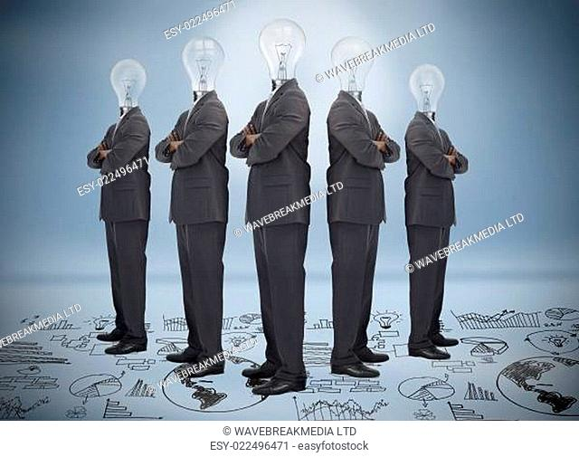 Businessman with bulb head multiplied standing on floor of graphs on blue background