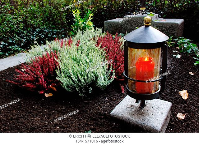 Burning light grave on All Saints