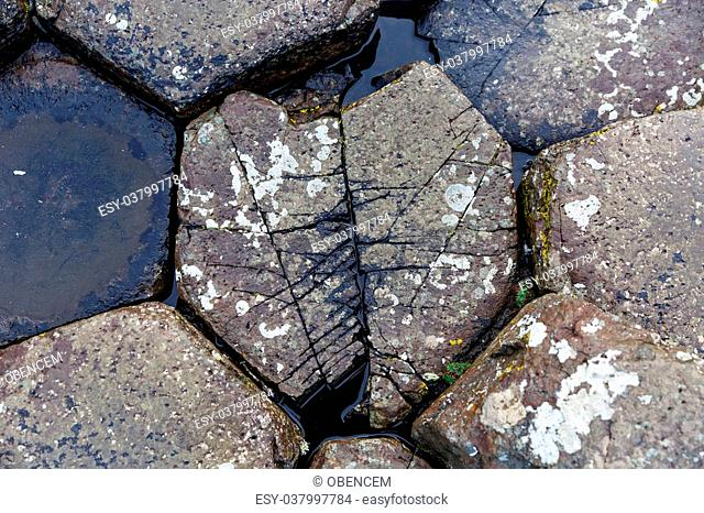 Close up photo of the stones from Giants Causeway