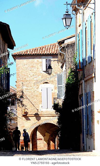 Street in the typical village of Auvillar, Tarn et Garonne, Occitanie