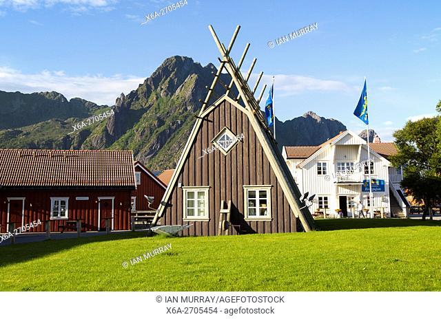Traditional building style at Scandic Hotel, Svolvaer, Lofoten Islands, Nordland, Norway