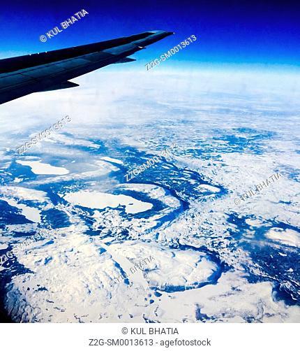 Snowy landscape at 30000 feet, 10000 meters