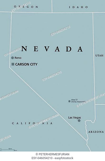 Nevada political map with Las Vegas, Reno and capital Carson City. State in the Western, Mountain West, and Southwestern regions of the United States