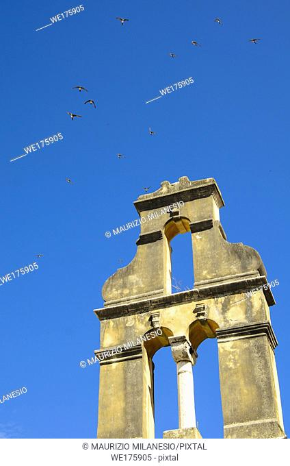 Flock of swallows flies in the blue sky above a bell tower, Greece Corfu