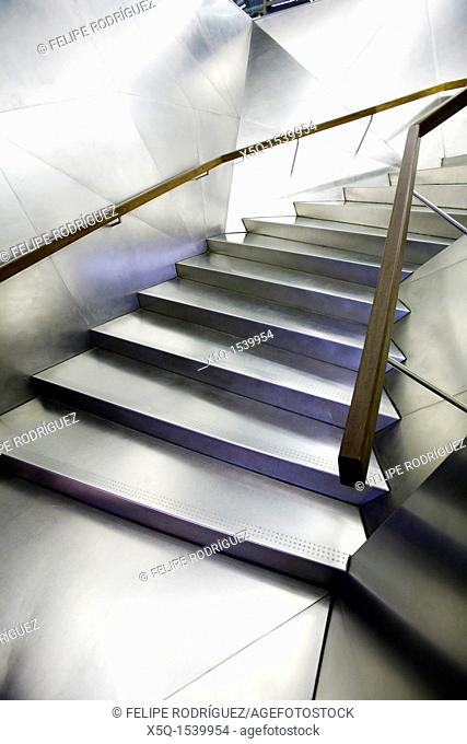 Stainless steel staircase in the entrace to Caixa Forum building, Madrid, Spain, work by Jacques Herzog and Pierre de Meuron