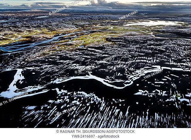 Aerial of view of area by Bardarbunga volcano, Dyngjujokull glacier, Iceland