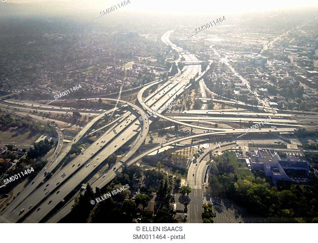 Aerial view of highway interchange near downtown San Jose California, part of Silicon Valley