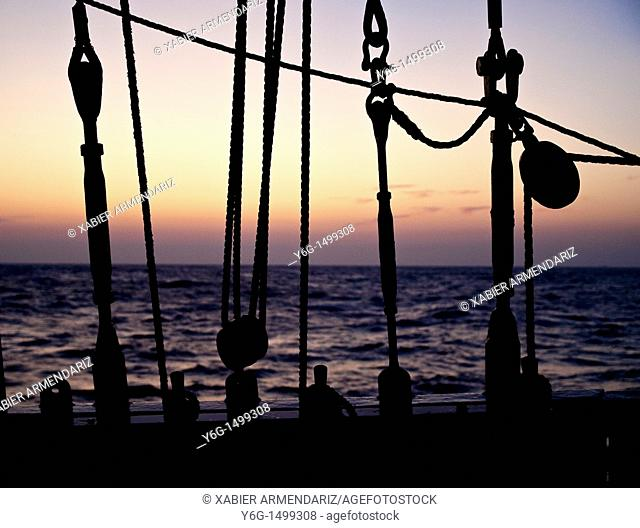Sunset aboard of tall ship Thalassa, North Sea, Europe