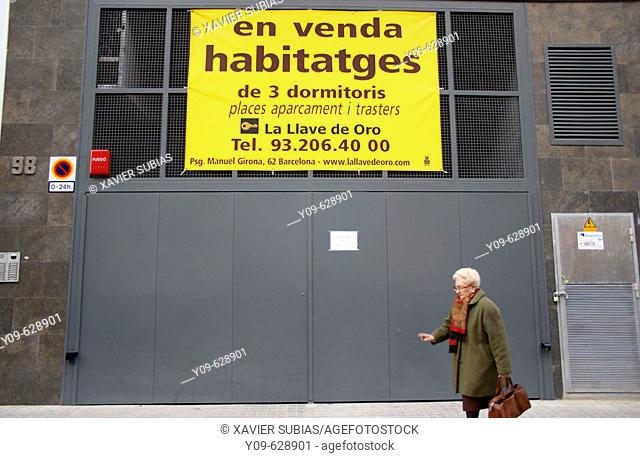 For sale sign, Barcelona. Catalonia, Spain