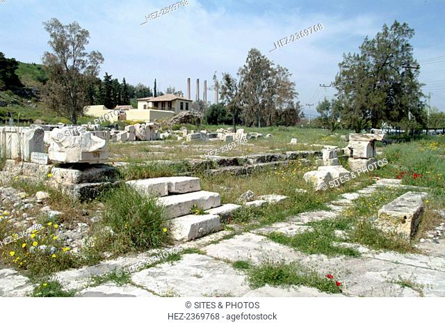 The Temple of Artemis Propylaea at Eleusis, Greece. Ancient Eleusis lies within the present-day industrial town of Elevsis (Elefsina) in Greece