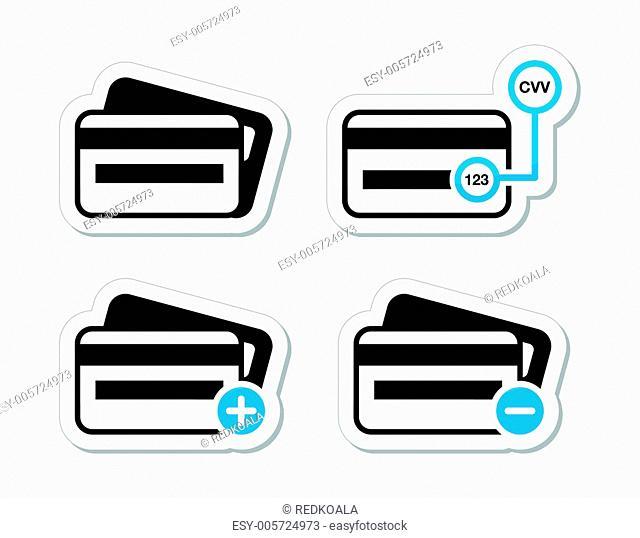 Credit Card, CVV code icons as labels set