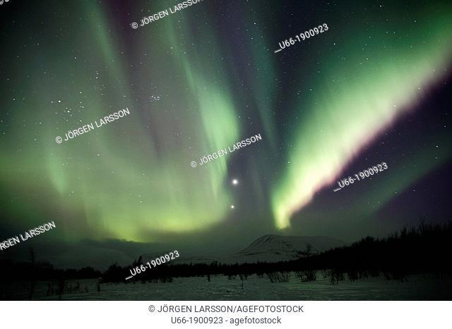 Sweden, Lappland, Gallivare, Aurora borealis