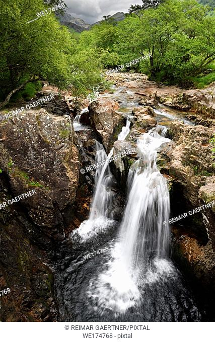 Lower Falls on the Water of Nevis river in Glen Nevis valley at Achriabhach Scottish Highlands Scotland UK