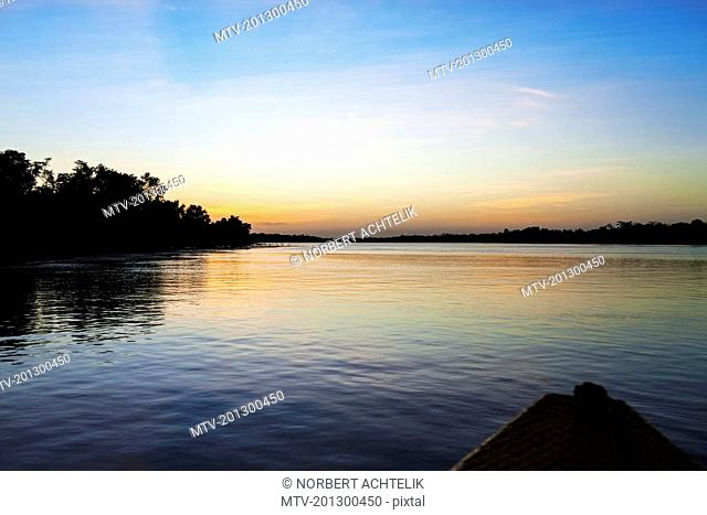 Wide shot of river seen from boat point view, Orinoco River, Orinoco Delta, Venezuela