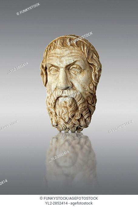 Roman marble sculpture bust of Sophocles, Farnese Type, 1st century AD copy from an original 4th century BC Hellanistic Greek original, inv 6413