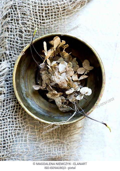 Overhead view of dried flowers in bowl on burlap