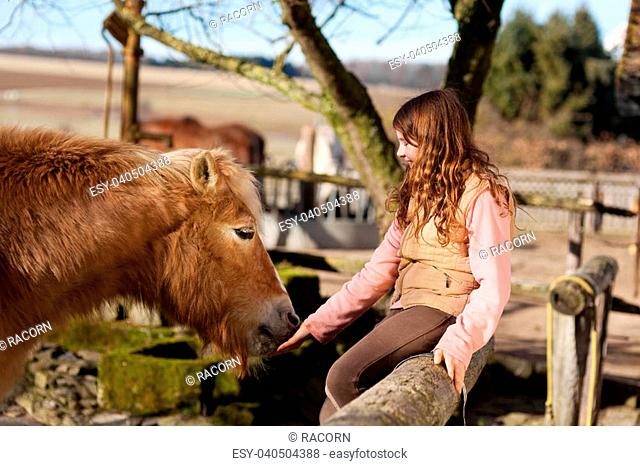 Happy young girl sitting on the paddock fence petting her horse