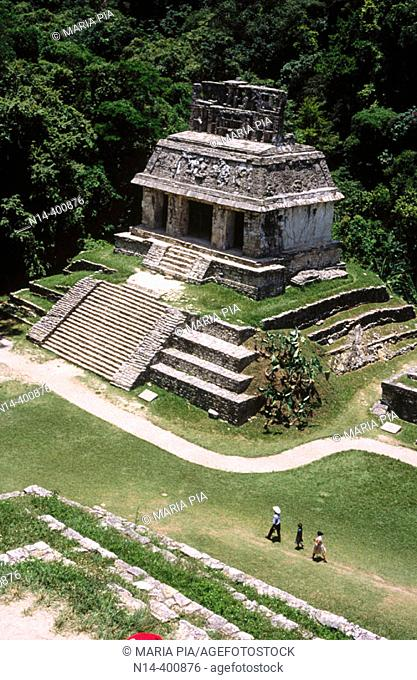 Temple of the Sun from the Group of the Temples of the Cross, Palenque, Mayan archaeology, pre-Hispanic pyramid architecture of Latin America, Chiapas, Mexico