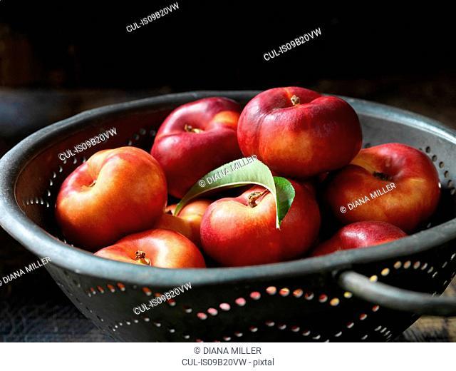 Fresh organic fruit, donut nectarines