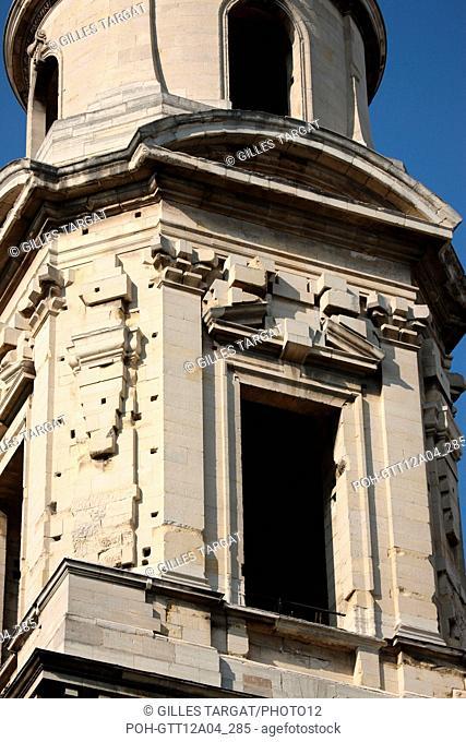 France, ile de france, paris 6e arrondissement, place saint sulpice, eglise saint sulpice, tour sud inachevee, travaux, pierre