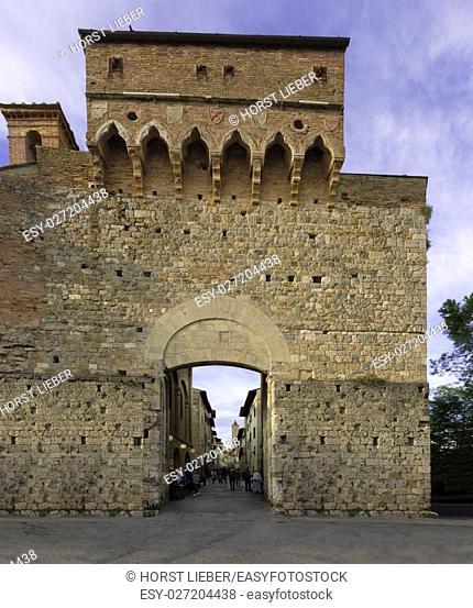 The entrance gate Porta San Giovanni in San Gimignano-Tuscany Italy, Europe
