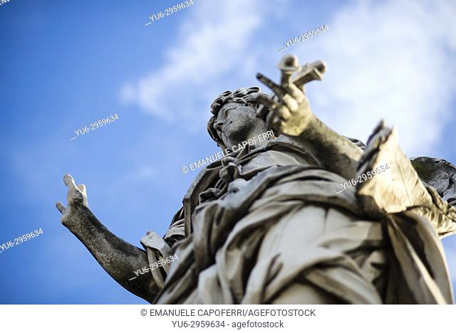 Angel Statue on Sant'Angelo Bridge Sculpted by Bernini Students 1669, Rome, Italy