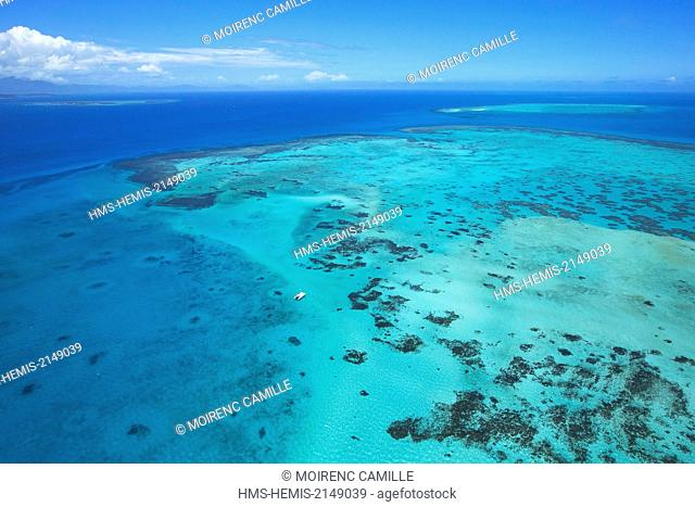 France, New Caledonia, Southern Province, Noumea, Crouzy Reef Lagoon classified as a UNESCO World Heritage (aerial view)