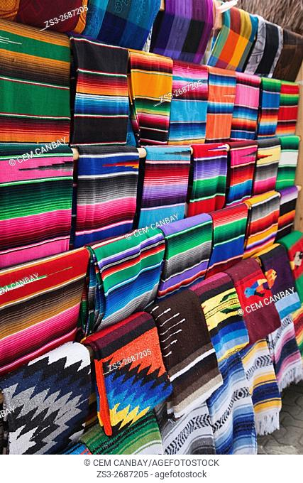 Colorful rugs and blankets for sale at the shop in town centre,Tulum, Quintana Roo, Yucatan Province, Mexico, Central America