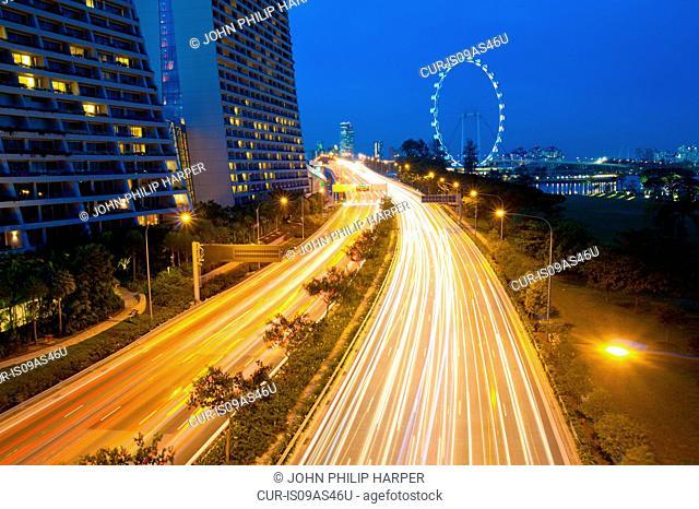 Light trails at night, Highway, Singapore