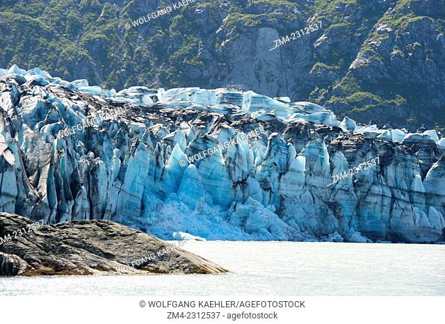 View of Lamplugh Glacier terminus in Johns Hopkins Inlet in Glacier Bay National Park, Southeast Alaska, USA