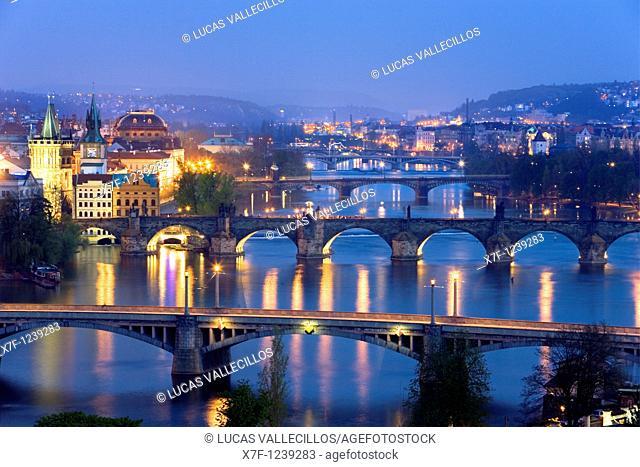 Bridges over Vltrava River  The second bridge is the Charles Bridge Prague  Czech Republic