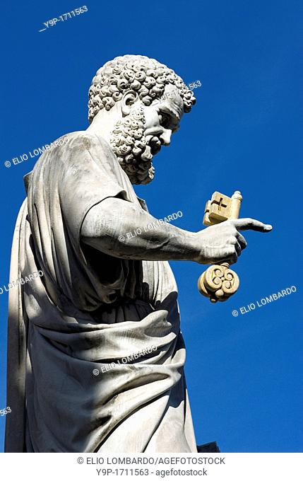 Detail of Saint Peter's Statue Holding Key to Heaven, Saint Peter's Square, Vatican City, Rome, Italy
