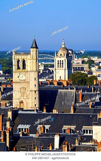 France, Loiret, Orleans, cityscape, the Beffroi and the St Paul tower