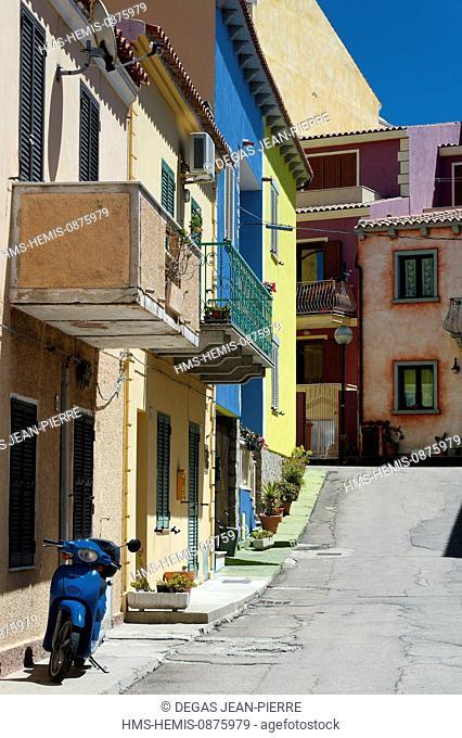 Italy, Sardinia, Olbia Tempio Province, Santa Teresa Gallura, Via Azuni, colorful houses in the historic center