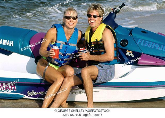 couple on a jet ski