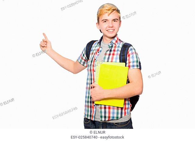 Young student isolated on white