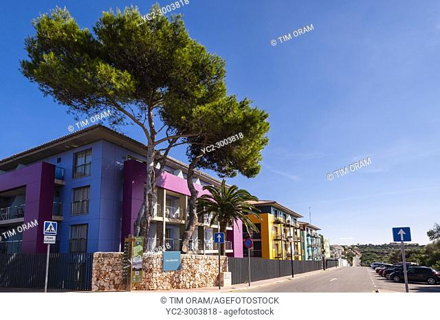 Colourful holiday appartments at Punta Prima , Menorca , Balearic Islands , Spain