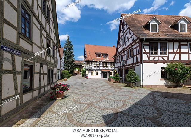 Alley in the old town, Michelstadt, Odenwald, Hesse, Germany