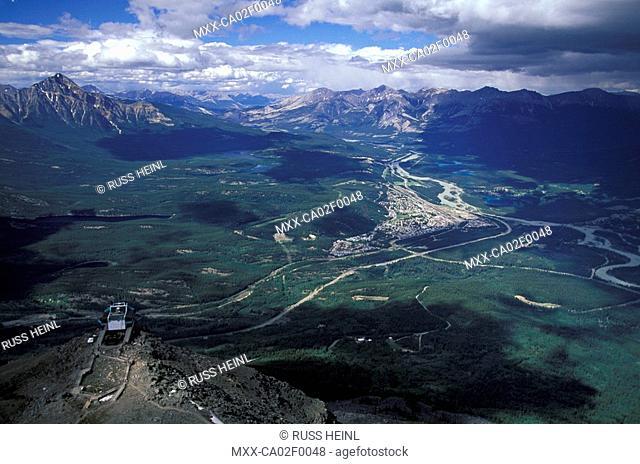 Aerial of Jasper, Alberta, Canada