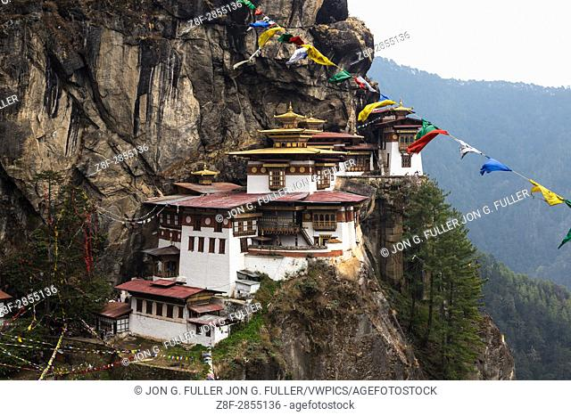 The Tiger's Nest Monastery, or Taktsang Goemba, is a Himalayan Bhuddist monastery perched on sheer cliffs 900 meters above the floor of the Paro Valley in...