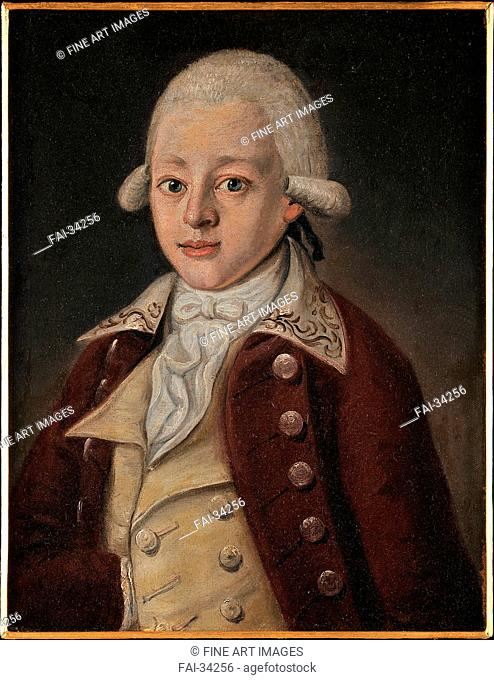 Wolfgang Amadeus Mozart (1756-1791) by Anonymous /Oil on canvas/Rococo/ca 1770/Private Collection/28x26/Portrait/Painting/Wolfgang Amadeus Mozart (1756-1791)...