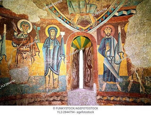 Twelfth century Romanesque frescoes of the Apse of Ginestarre depicting,The Virgin Mary and the Apostles, from the church of Santa Maria de Ginestarre