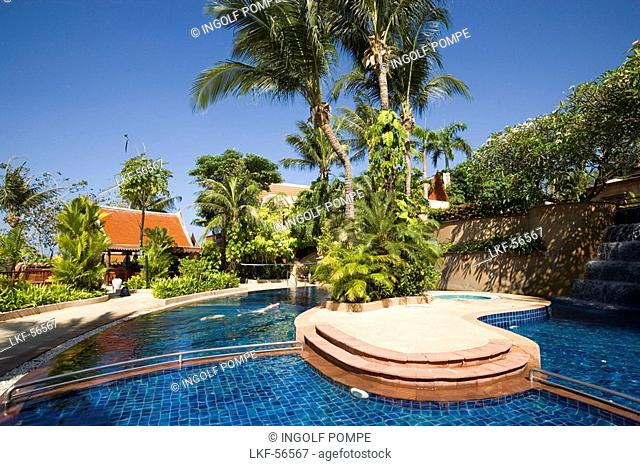 Swimming pool of the first-class Novotel Coralia Phuket Hotel, Hat Patong, Ao Patong, Phuket, Thailand, after the tsunami