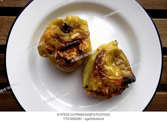Traditional Greek Cuisine. Stuffed Green Peppers