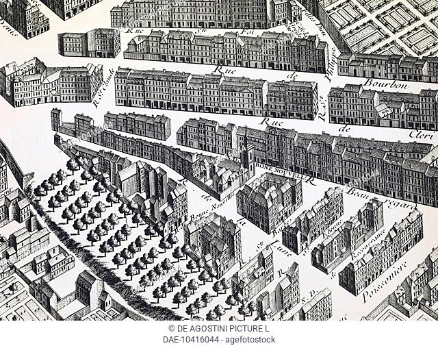 Affair of the Poisons, detail from the map of Paris called Plan Turgot (first half of 18th century) showing Rue Beauregard