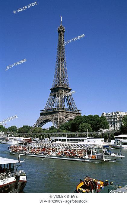 Boats, Eiffel, Eiffel tower, France, Europe, Holiday, Landmark, Paris, Seine river, Tour, Tourism, Tourist, Travel, Vacation