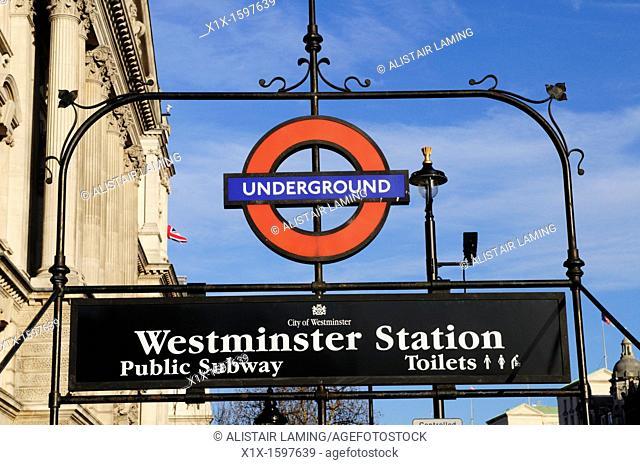 Westminster Underground Station Subway Sign, Whitehall, London, England, UK