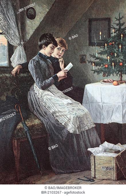 Christmas Eve in the attic, chromolithography, about 1880