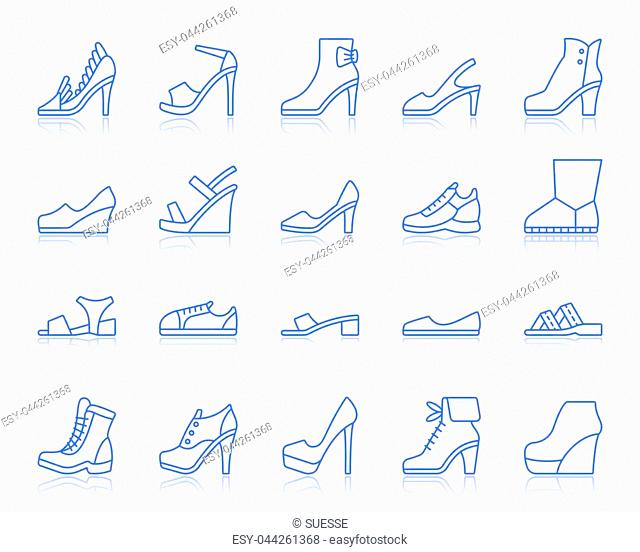 Shoes thin line icons set. Outline vector monochrome web sign kit of footwear. Fashion linear icon collection includes classic, sport, heel